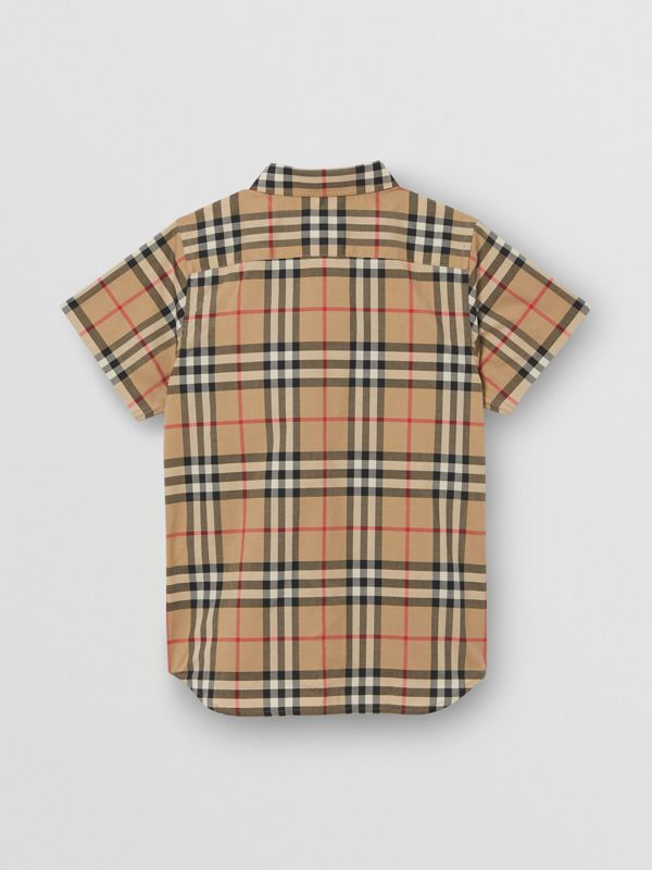 Short-sleeve Vintage Check Cotton Shirt in Archive Beige | Burberry - cell image 3