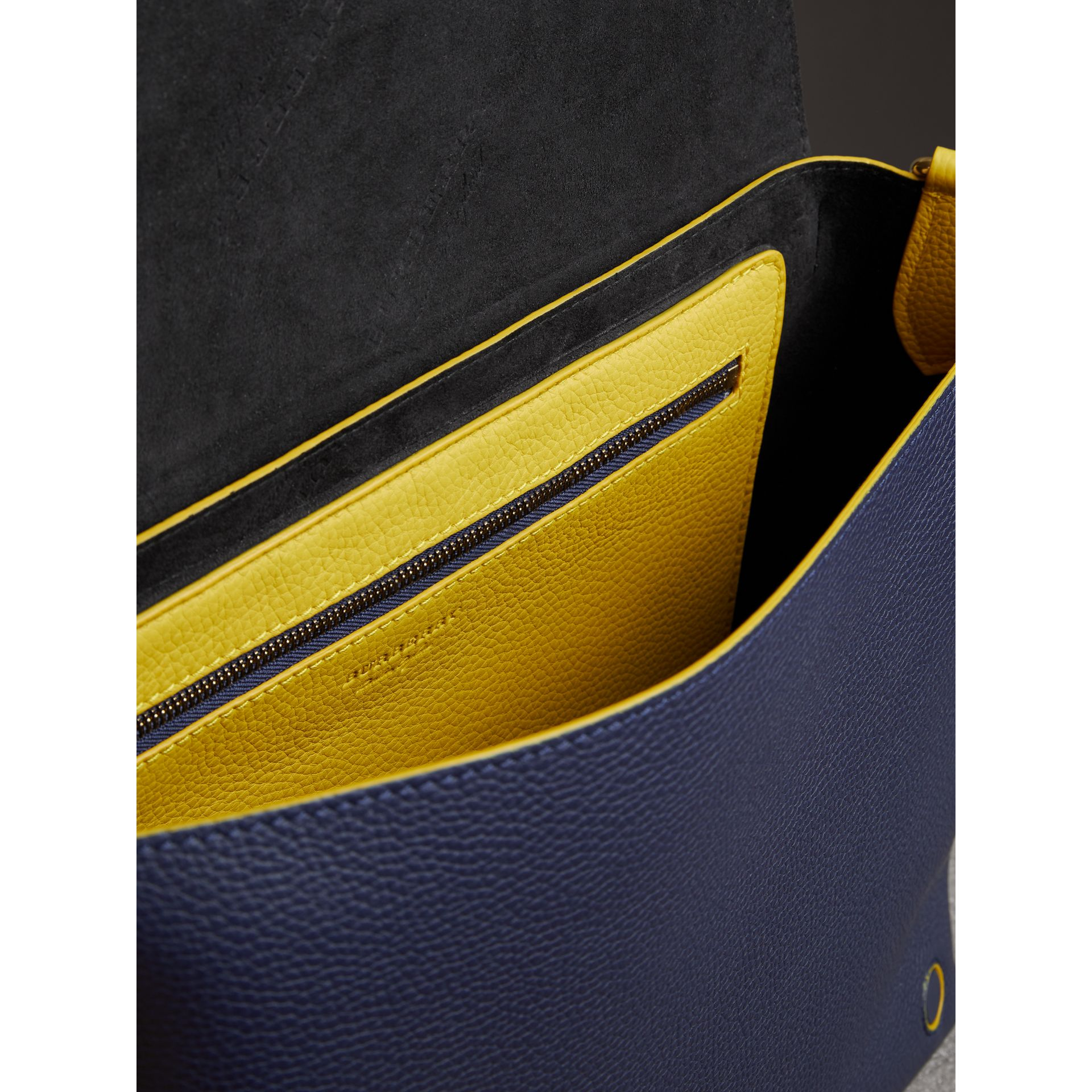 Large Two-tone Embossed Leather Messenger Bag in Regency Blue - Men | Burberry - gallery image 5