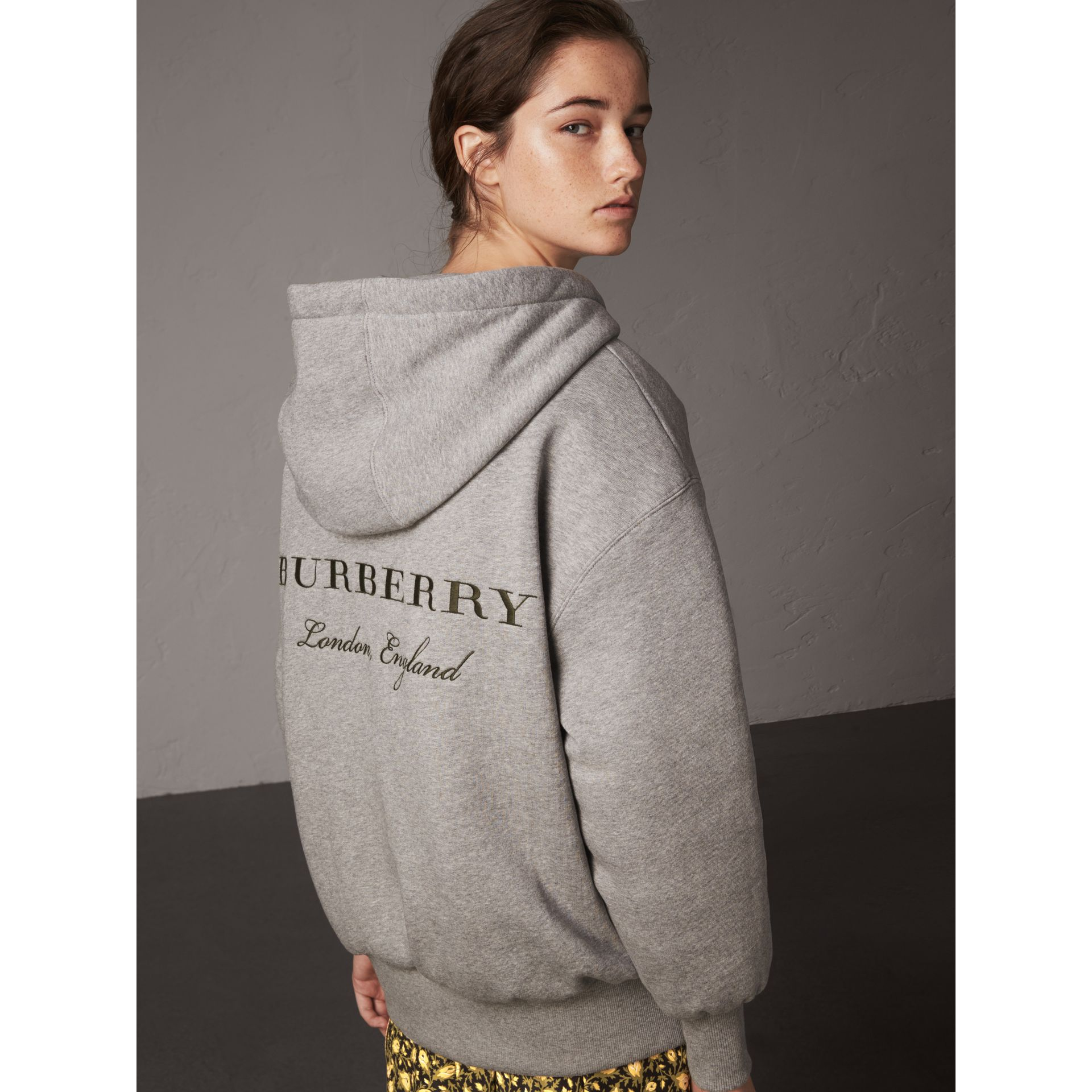 Reversible Down-filled Hooded Bomber Jacket in Olive - Women | Burberry - gallery image 6