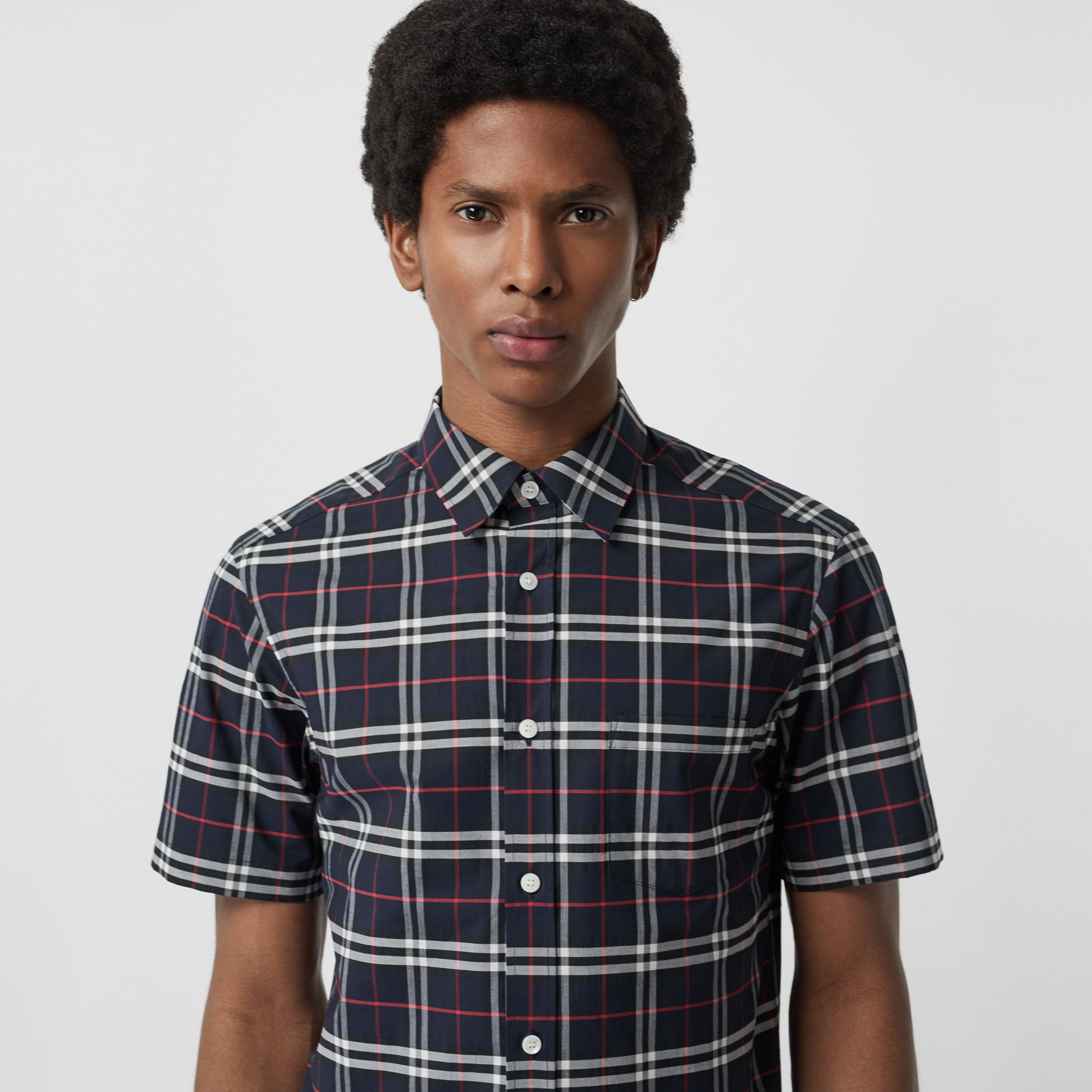 Short-sleeve Check Stretch Cotton Shirt in Navy - Men | Burberry - 2