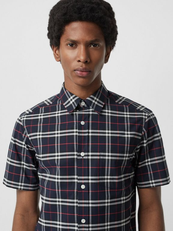 Short-sleeve Check Stretch Cotton Shirt in Navy - Men | Burberry - cell image 1