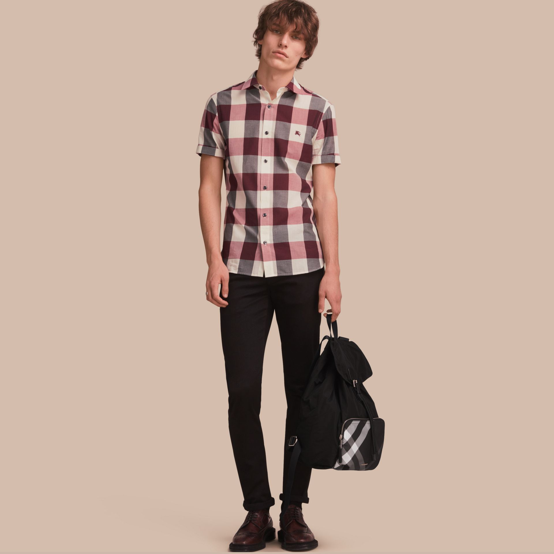 Short-sleeved Exploded Gingham Cotton Linen Shirt Plum Pink - gallery image 1