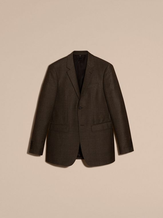 Taupe brown/black Slim Fit Prince of Wales Check Wool Blend Jacket - cell image 3