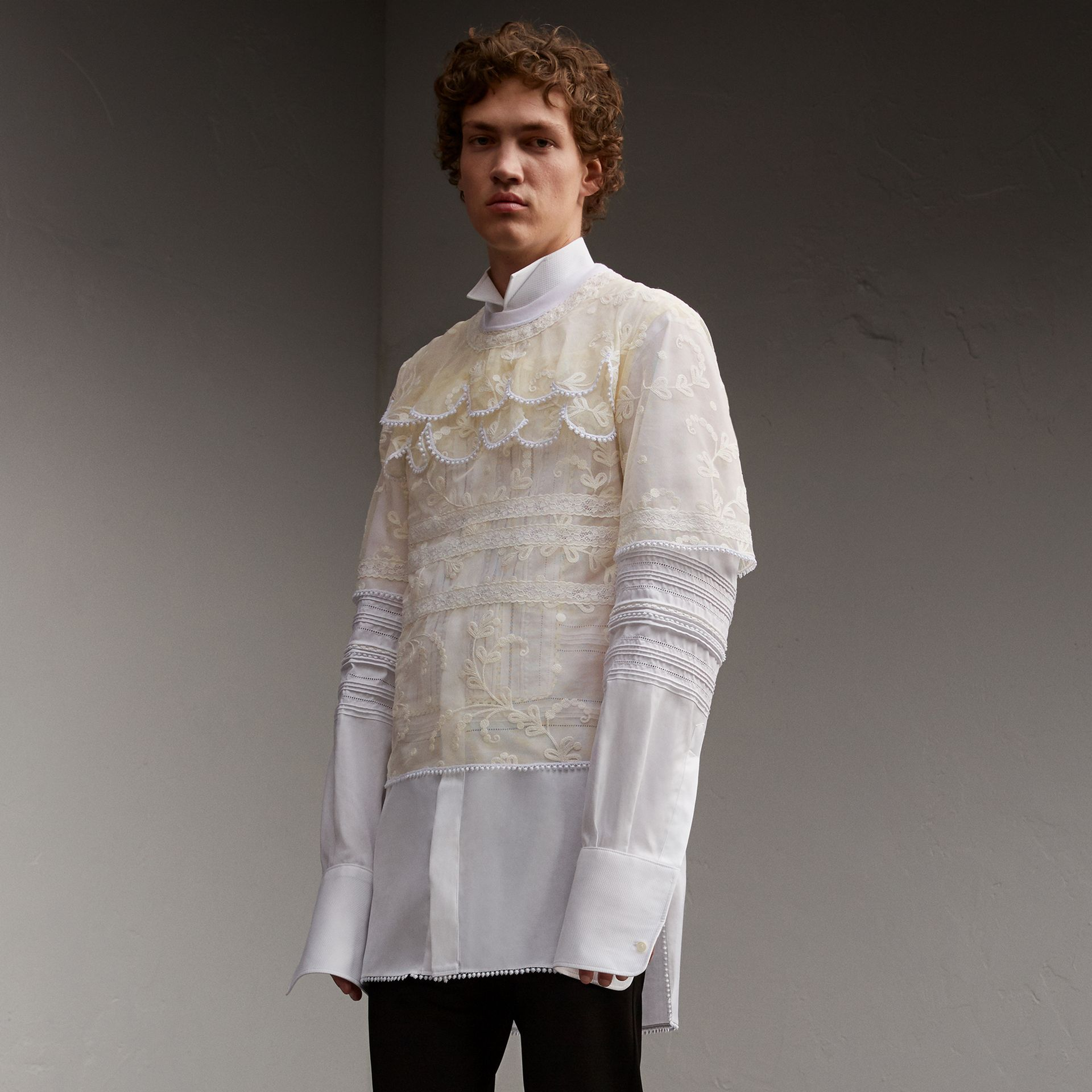 Tiered Soutache Lace T-shirt in White - Men | Burberry - gallery image 1