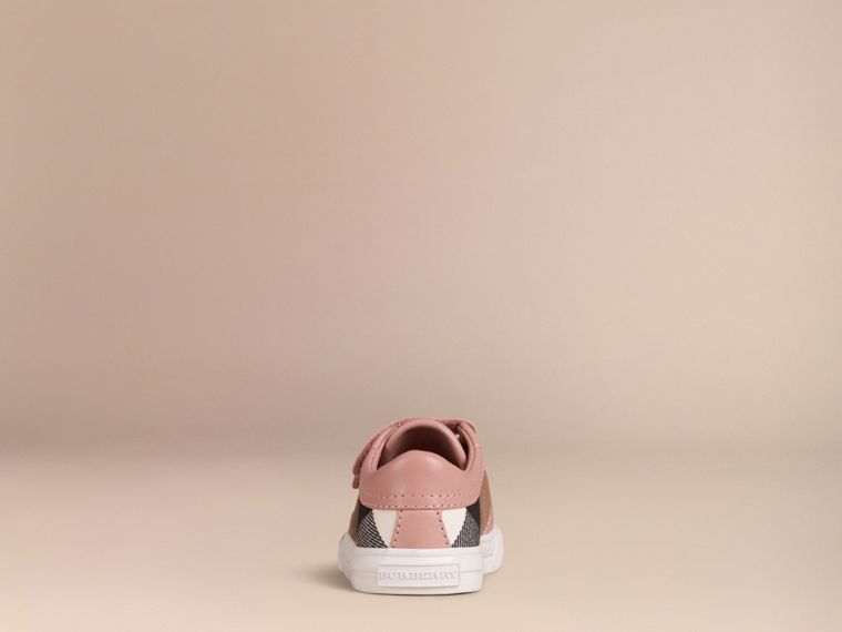 House Check and Leather Trainers in Peony Rose Melange - Children | Burberry - cell image 2