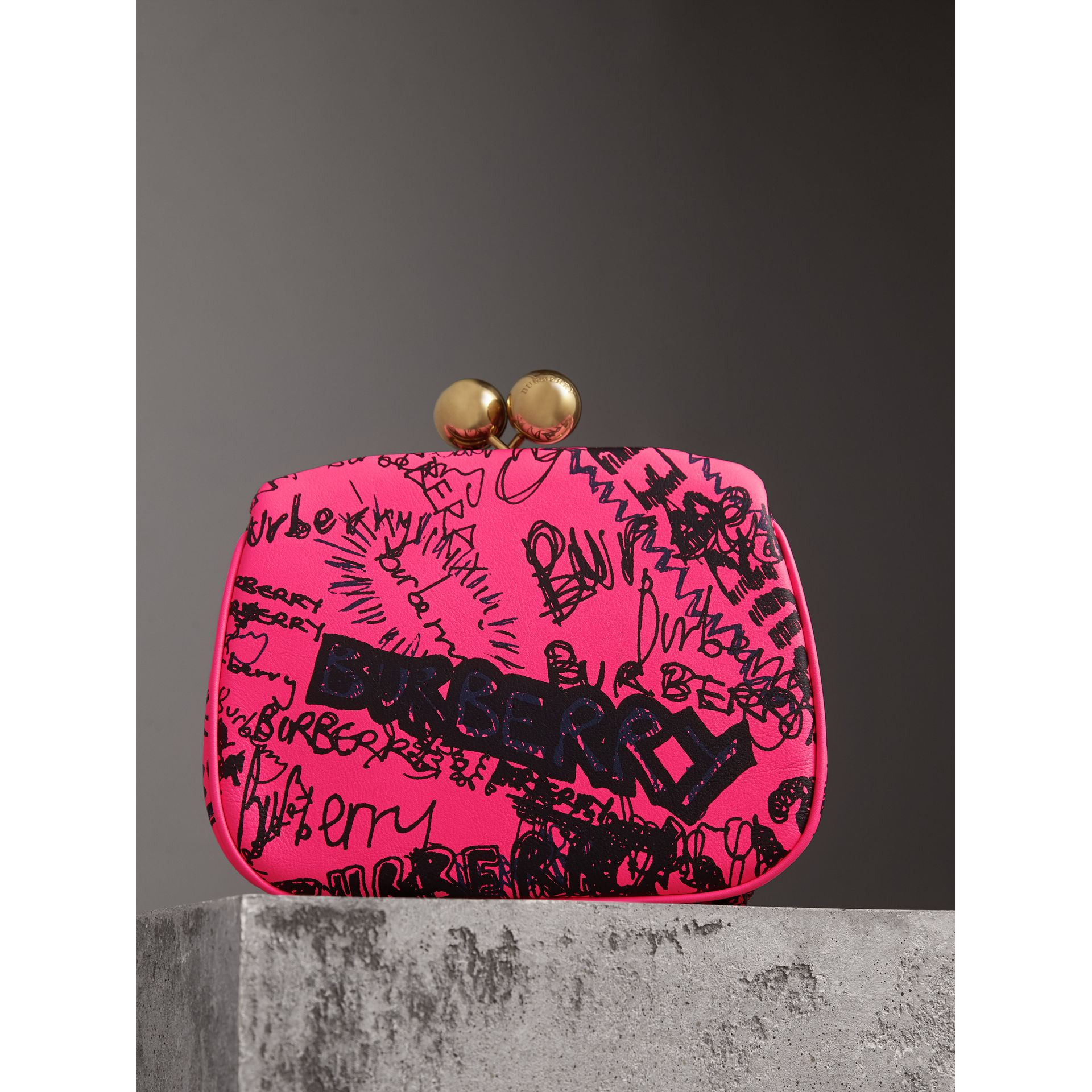 Small Doodle Print Leather Metal Frame Clutch Bag in Neon Pink - Women | Burberry - gallery image 5