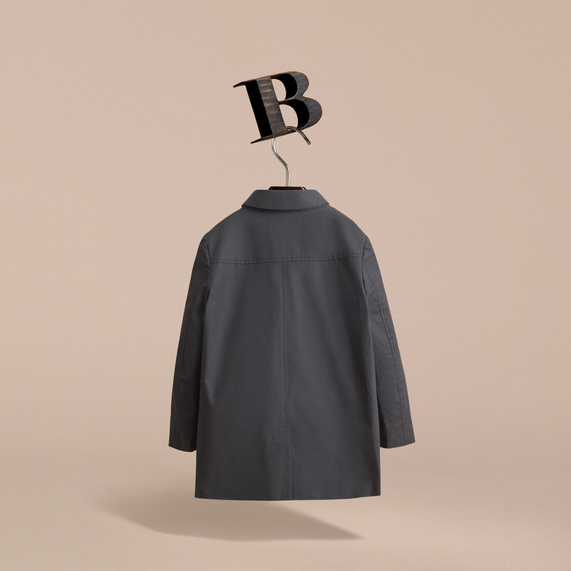 Mercerised Cotton Car Coat in Black - Boy | Burberry - gallery image 4