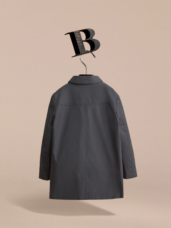 Mercerised Cotton Car Coat in Black - Boy | Burberry Singapore - cell image 3
