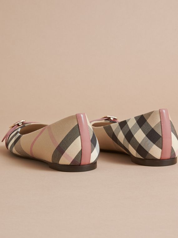 Buckle Detail Check and Patent Leather Ballerinas in Nude Pink - Women | Burberry - cell image 3
