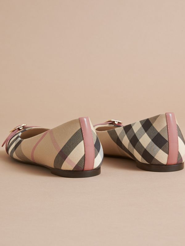 Buckle Detail Check and Patent Leather Ballerinas in Nude Pink | Burberry United States - cell image 3