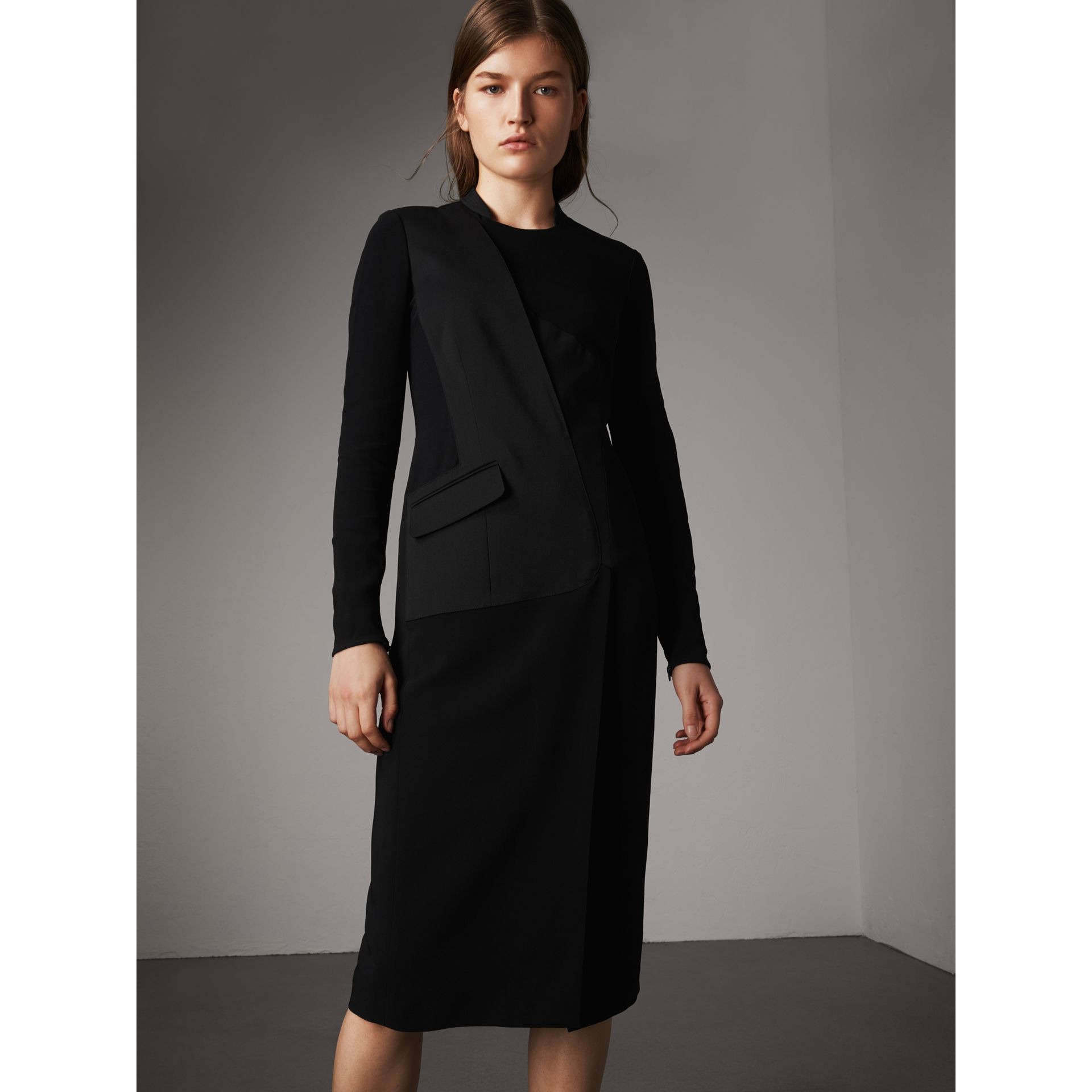 Tailored Panel Crepe and Wool Dress in Black - Women | Burberry - gallery image 5