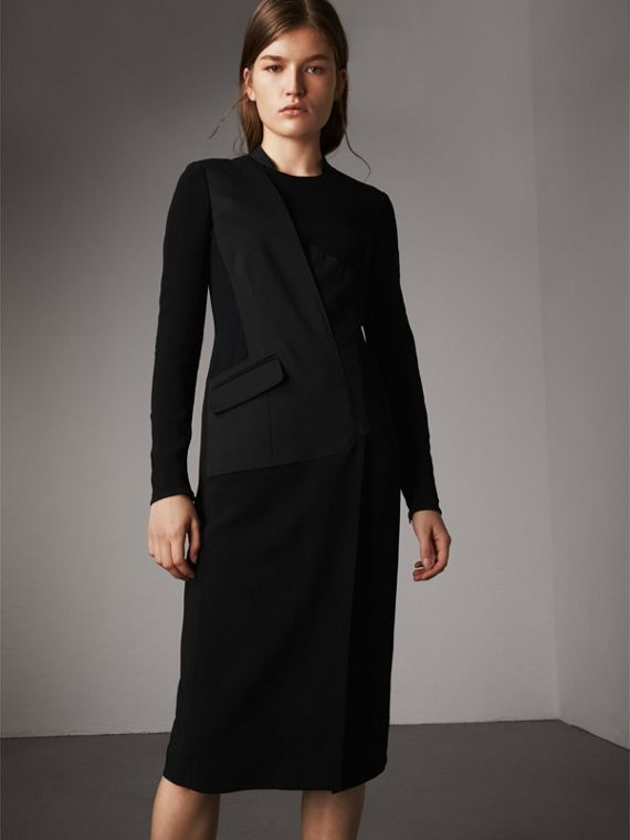 Tailored Panel Crepe and Wool Dress in Black