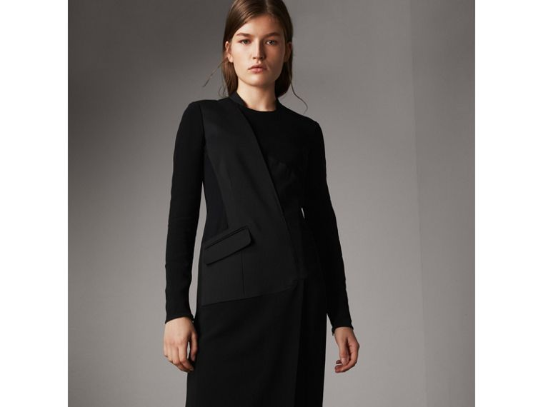 Tailored Panel Crepe and Wool Dress in Black - Women | Burberry - cell image 4