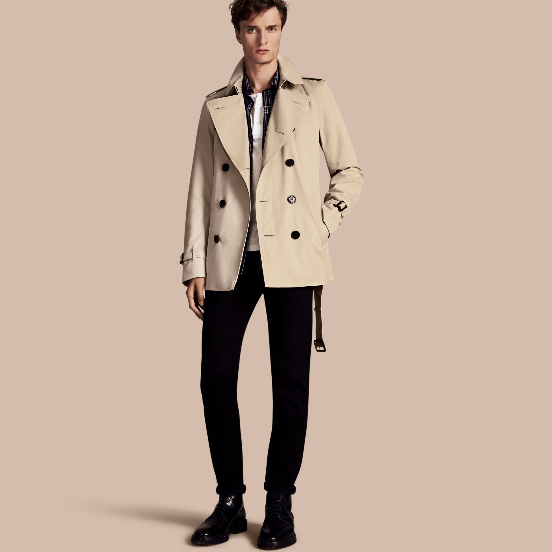 Stone The Kensington – Short Heritage Trench Coat Stone - gallery image 1