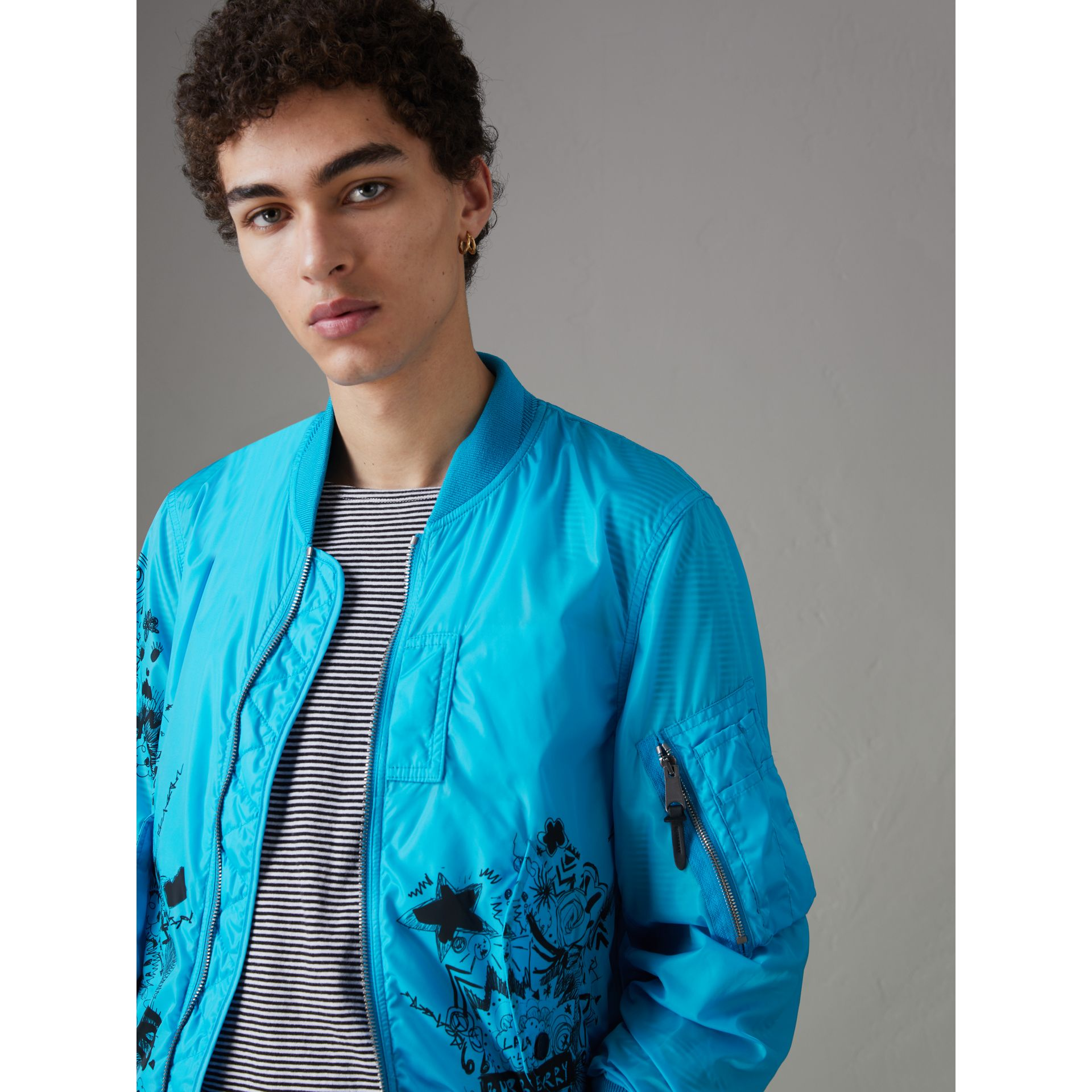 Doodle Print Bomber Jacket in Bright Blue - Men | Burberry Singapore - gallery image 4