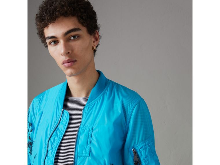 Doodle Print Bomber Jacket in Bright Blue - Men | Burberry - cell image 4