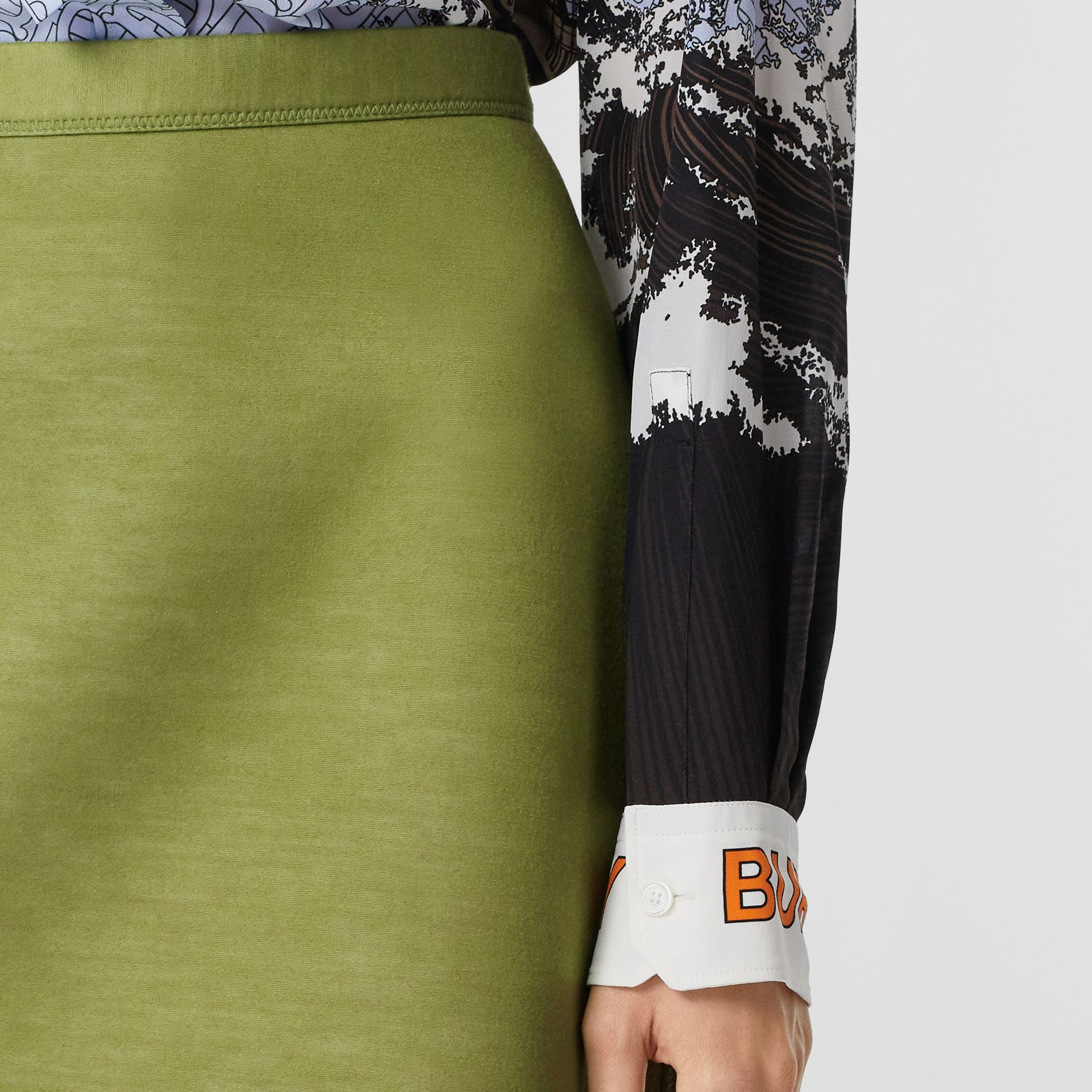 Double-faced Neoprene Skirt in Cedar Green - Women | Burberry - gallery image 1
