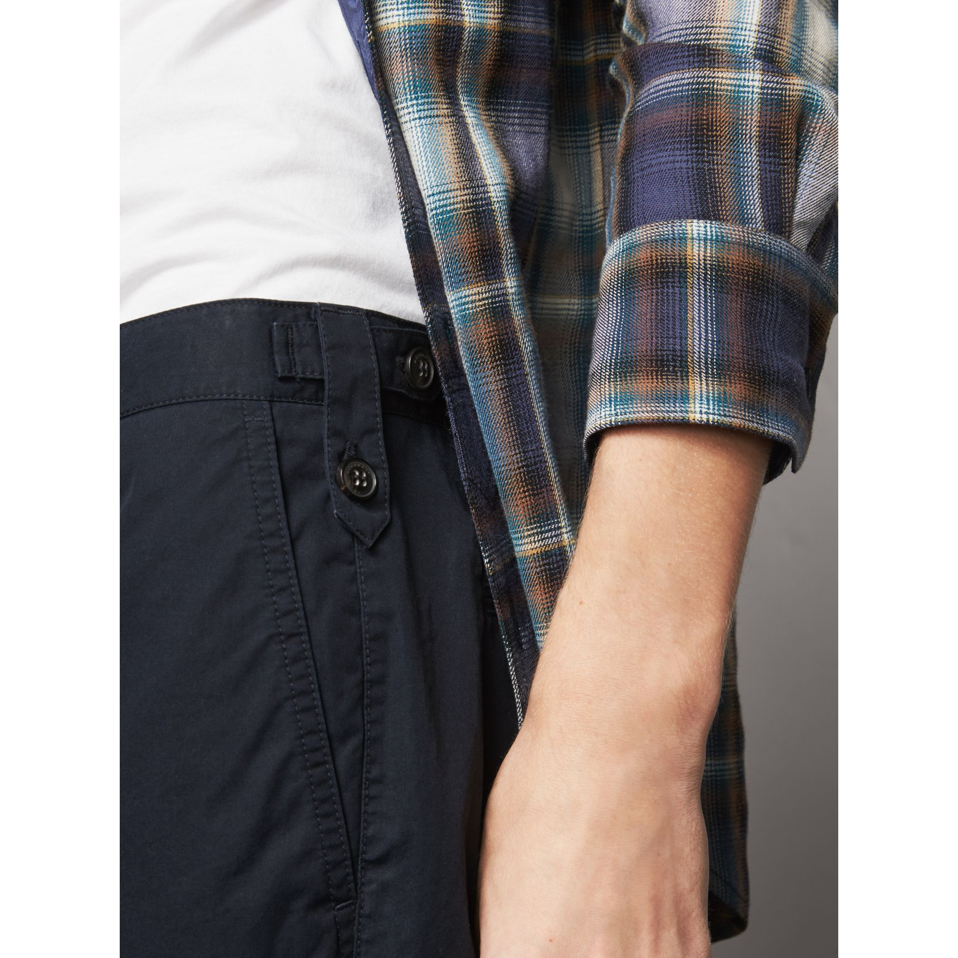 Straight Fit Cotton Chinos in Ink - Men | Burberry - gallery image 2