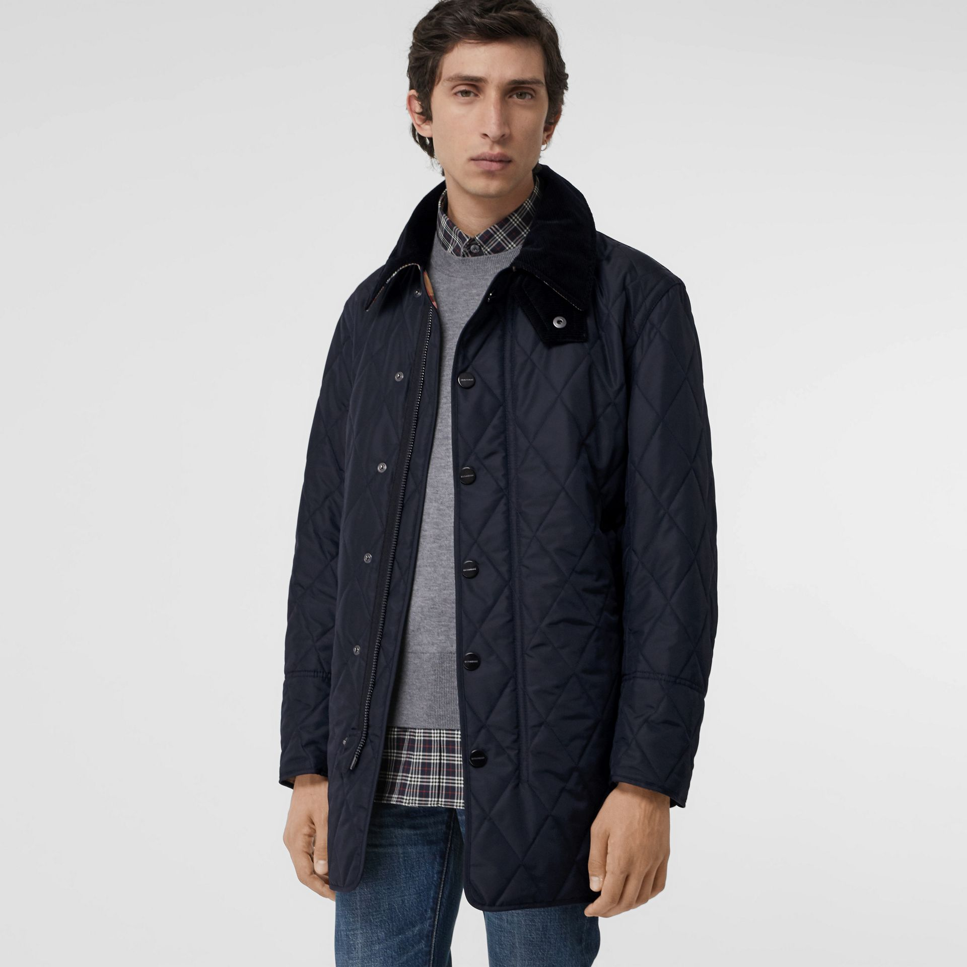 Detachable Hood Diamond Quilted Barn Jacket in Navy - Men | Burberry - gallery image 5