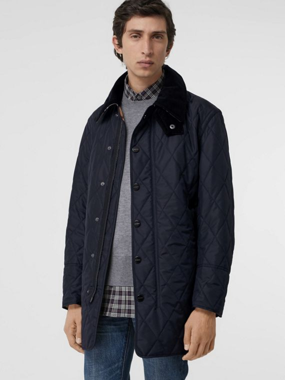 Detachable Hood Diamond Quilted Barn Jacket in Navy
