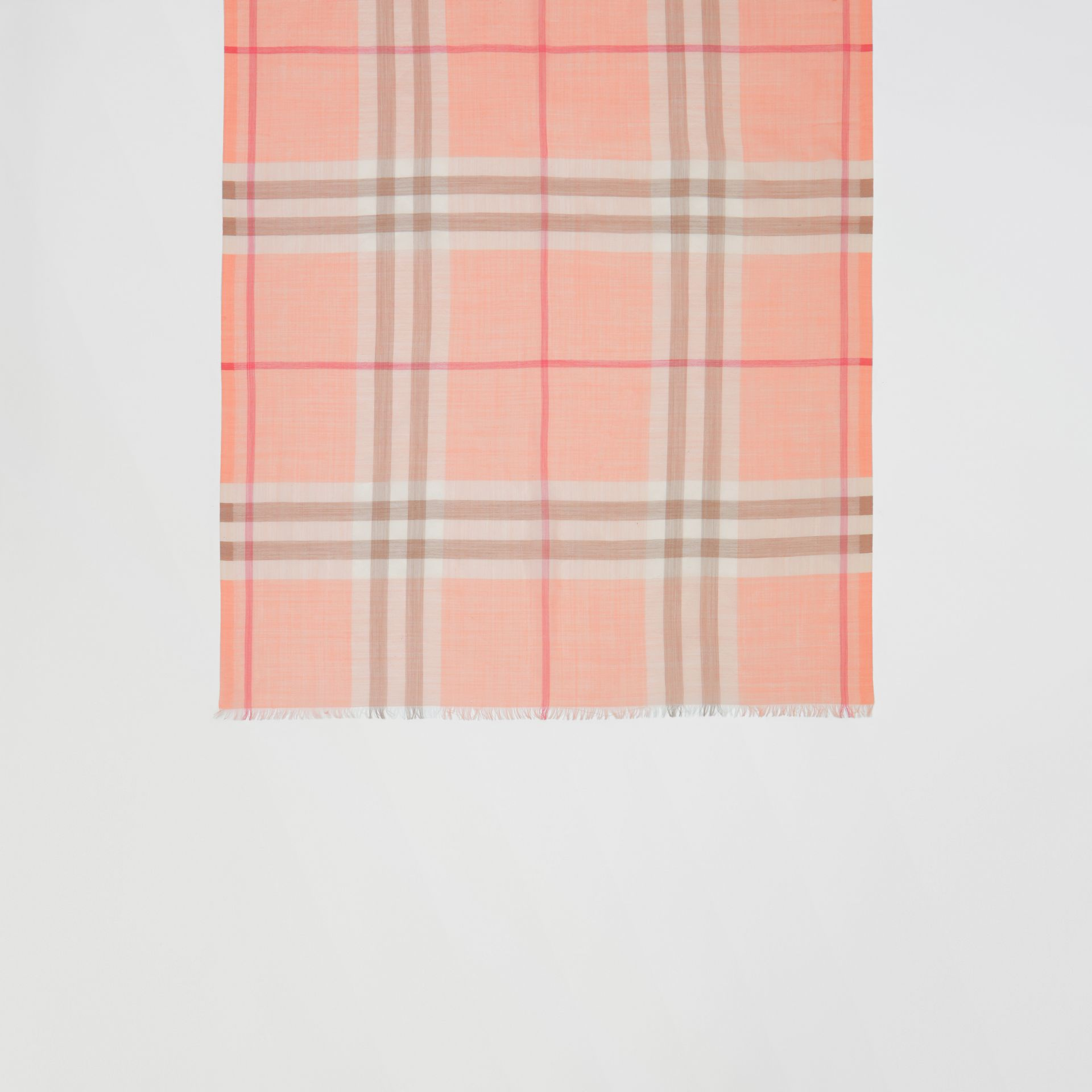 Lightweight Check Wool Silk Scarf in Pink Peach | Burberry United Kingdom - gallery image 2
