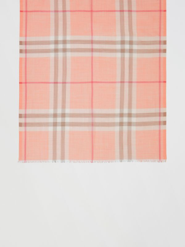 Lightweight Check Wool Silk Scarf in Pink Peach | Burberry United Kingdom - cell image 2