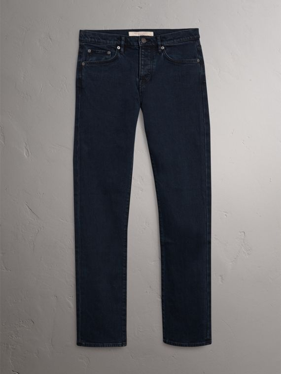 Straight Fit Indigo Stretch Jeans in Dark - Men | Burberry United Kingdom - cell image 3
