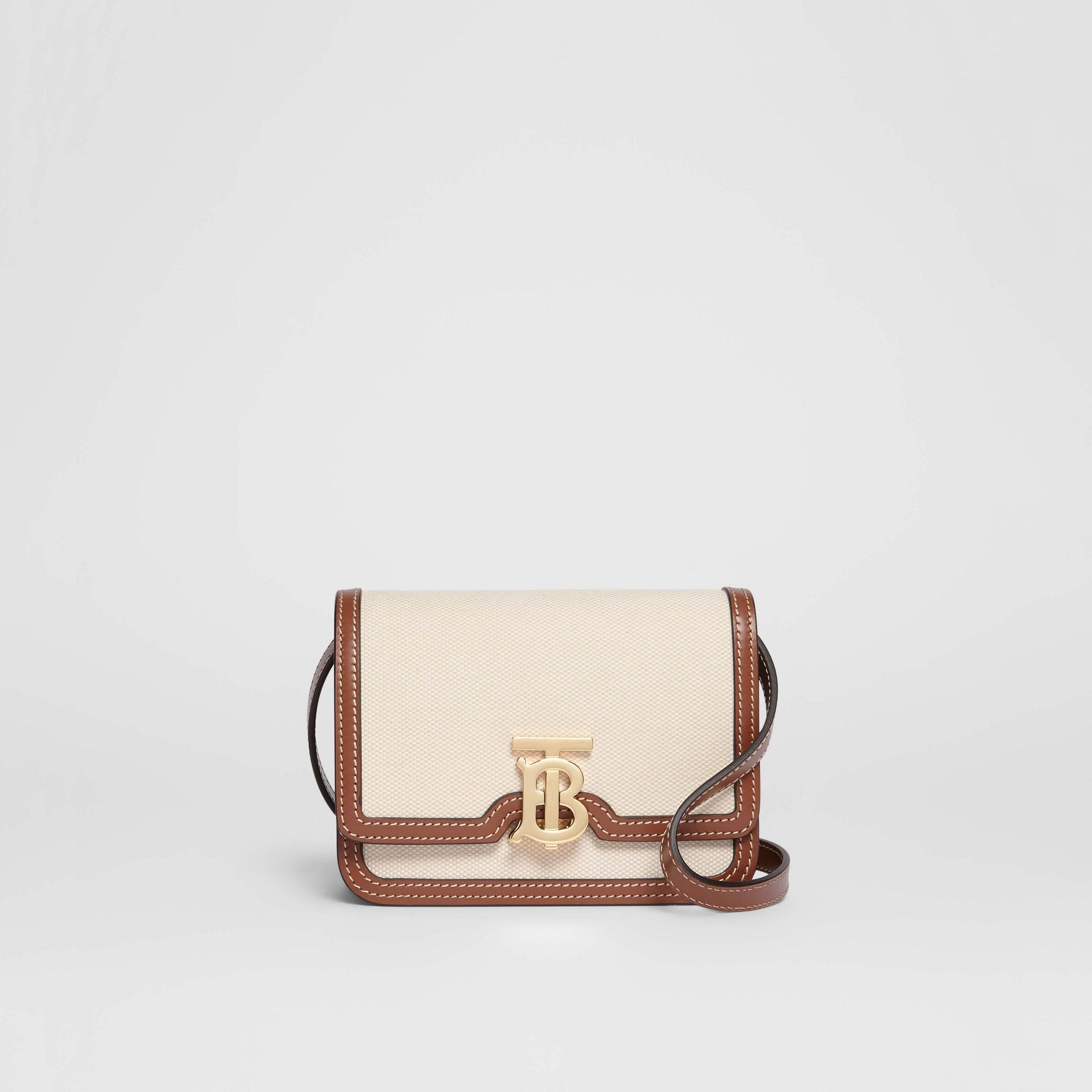 Mini Two-tone Canvas and Leather TB Bag in Natural/malt Brown - Women | Burberry Hong Kong S.A.R - gallery image 0