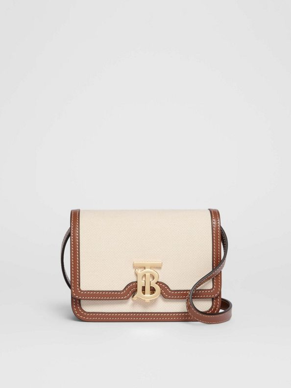 Mini Two-tone Canvas and Leather TB Bag in Natural/malt Brown