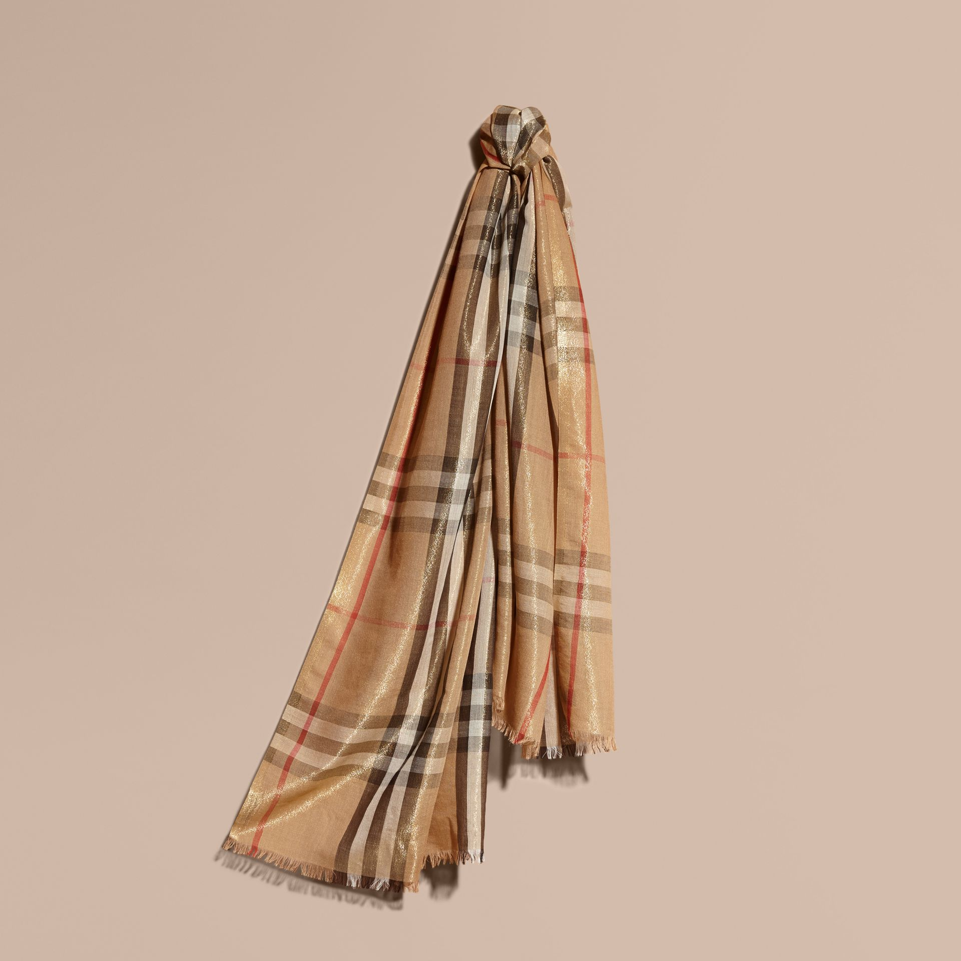 Metallic Check Silk and Wool Scarf in Camel/gold - gallery image 1