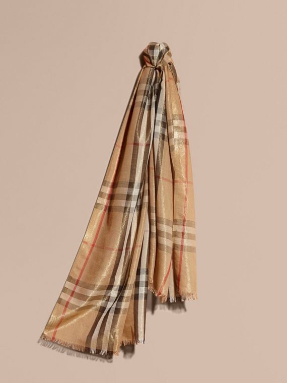 Metallic Check Silk and Wool Scarf in Camel/gold - Women | Burberry