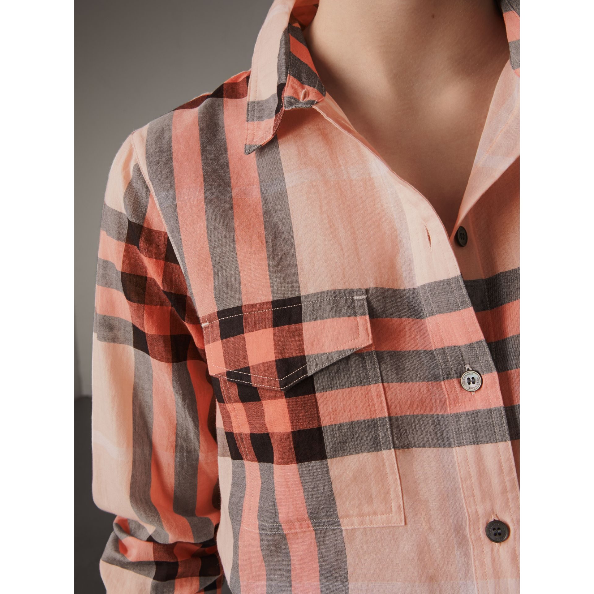 Check Cotton Shirt in Apricot - Women | Burberry Singapore - gallery image 2