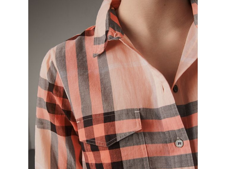 Check Cotton Shirt in Apricot - Women | Burberry Singapore - cell image 1