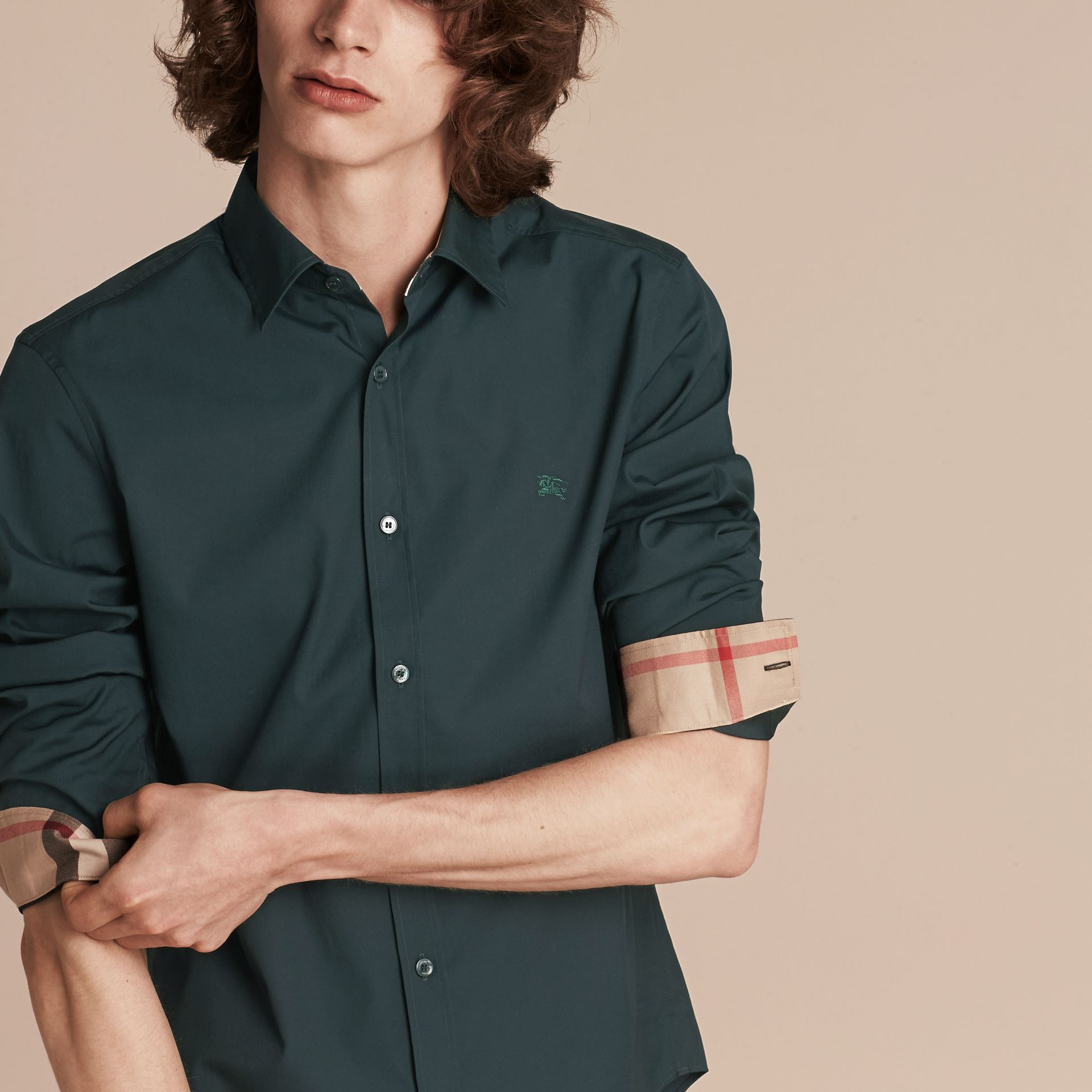 Check Detail Stretch Cotton Poplin Shirt in Dark Teal Green - gallery image 5