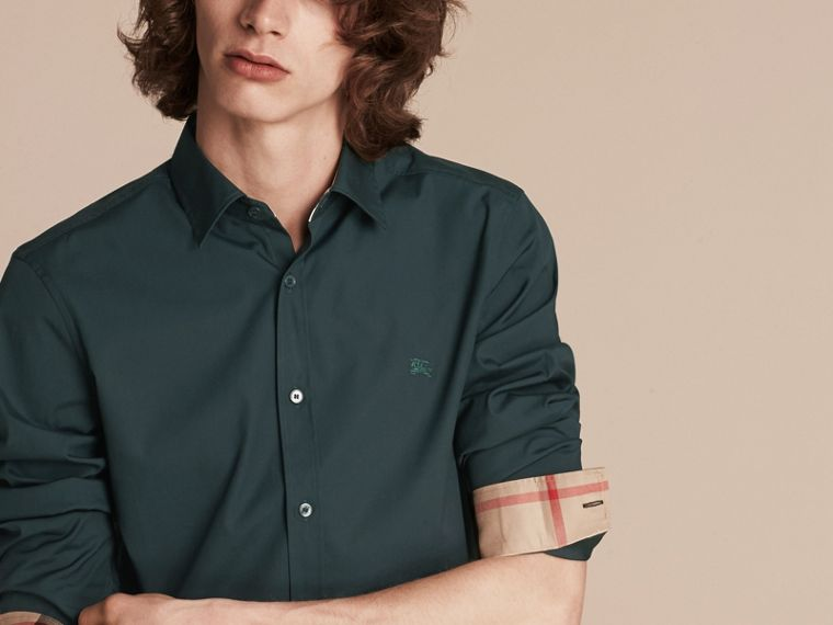 Check Detail Stretch Cotton Poplin Shirt in Dark Teal Green - cell image 4