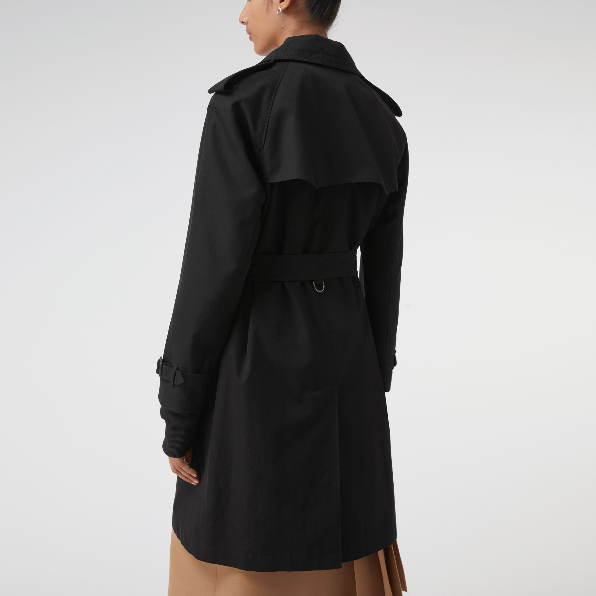 Oversized Lapel Cotton Gabardine Trench Coat in Black - Women | Burberry - gallery image 2