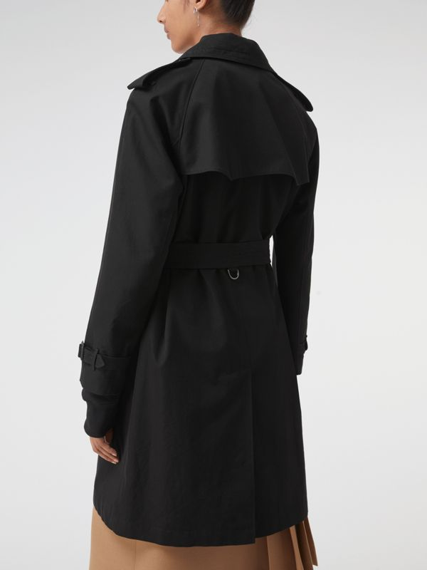 Oversized Lapel Cotton Gabardine Trench Coat in Black - Women | Burberry - cell image 2