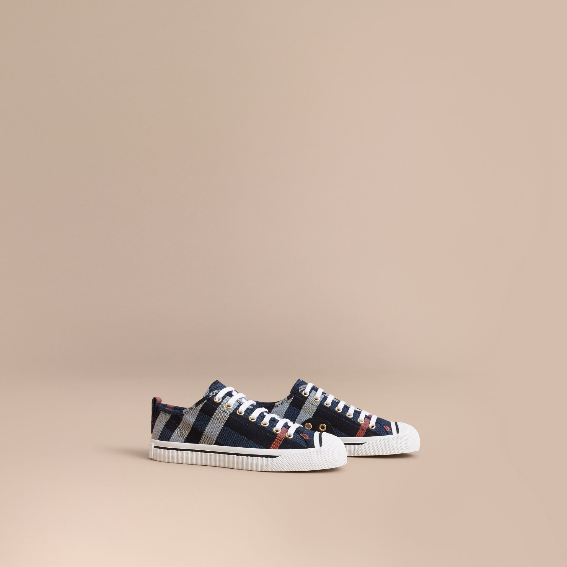 Check Linen Cotton Trainers in Ink Blue - Women | Burberry - gallery image 1