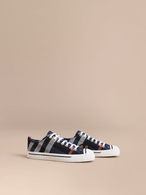 Check Linen Cotton Trainers in Ink Blue
