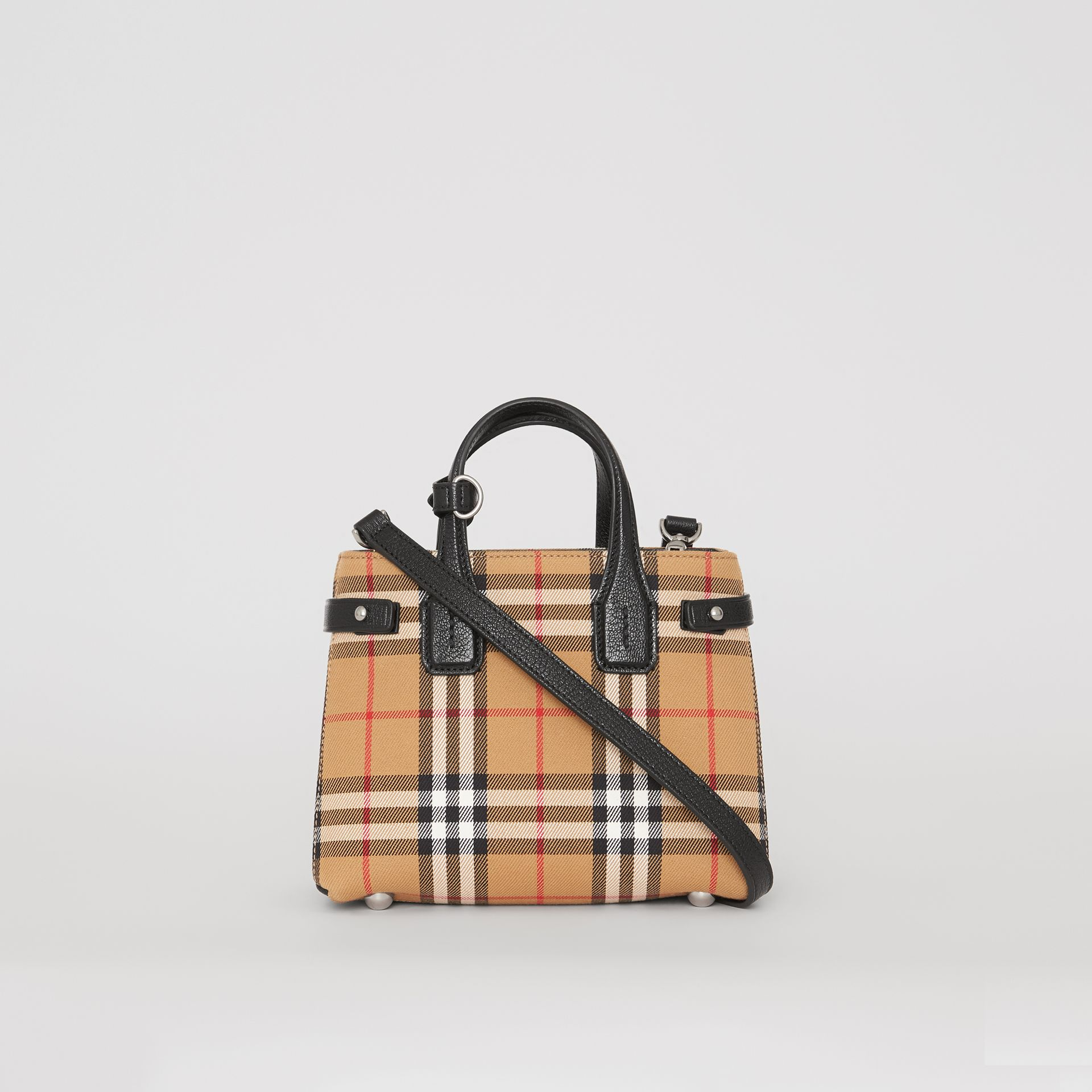 The Baby Banner in Vintage Check and Leather in Black - Women | Burberry - gallery image 7