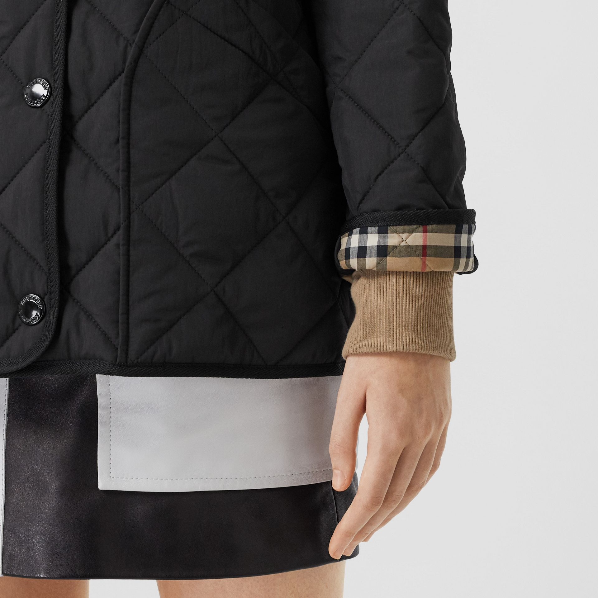 Diamond Quilted Thermoregulated Barn Jacket in Black - Women | Burberry - gallery image 4