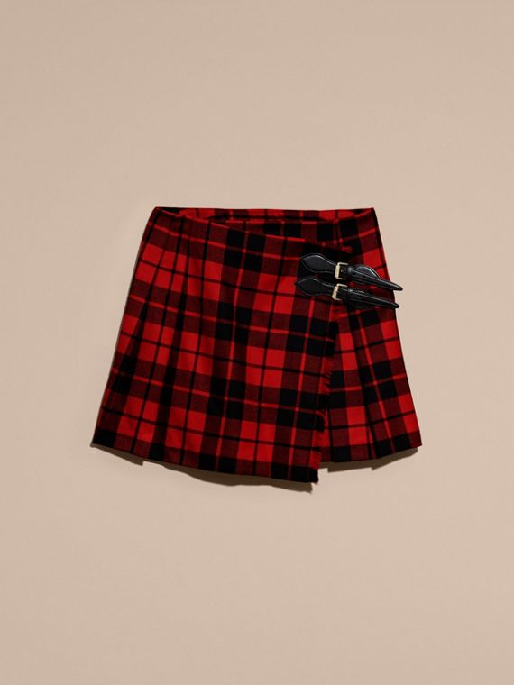 Bright red Tartan Wool Kilt - cell image 3