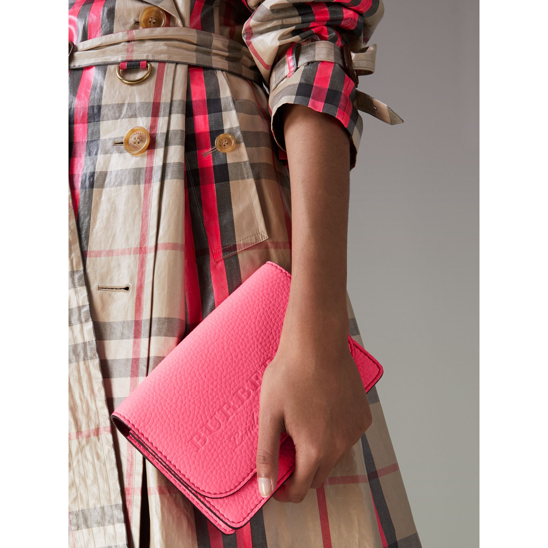Embossed Leather Wallet with Detachable Strap in Bright Pink - Women | Burberry - gallery image 3