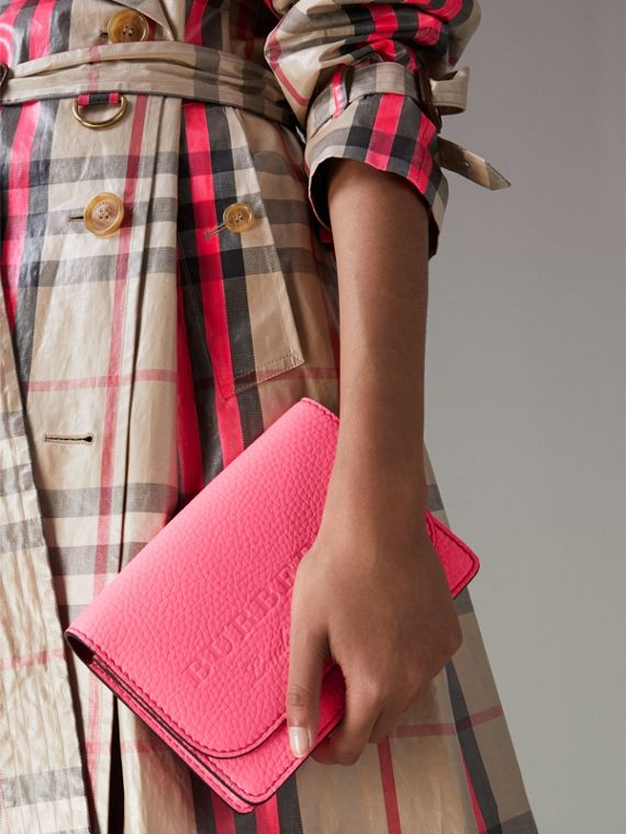 Embossed Leather Wallet with Detachable Strap in Bright Pink - Women | Burberry United Kingdom - cell image 3