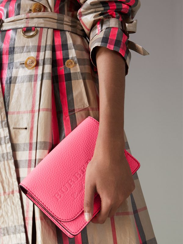 Embossed Leather Wallet with Detachable Strap in Bright Pink - Women | Burberry - cell image 3