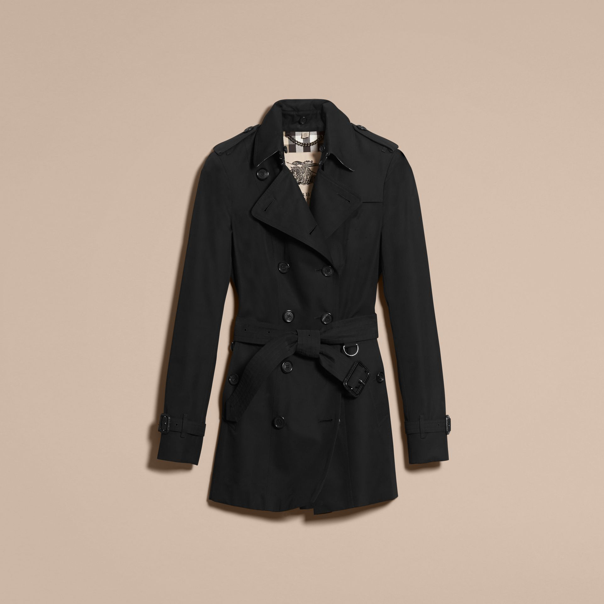 Black The Sandringham – Short Heritage Trench Coat Black - gallery image 4