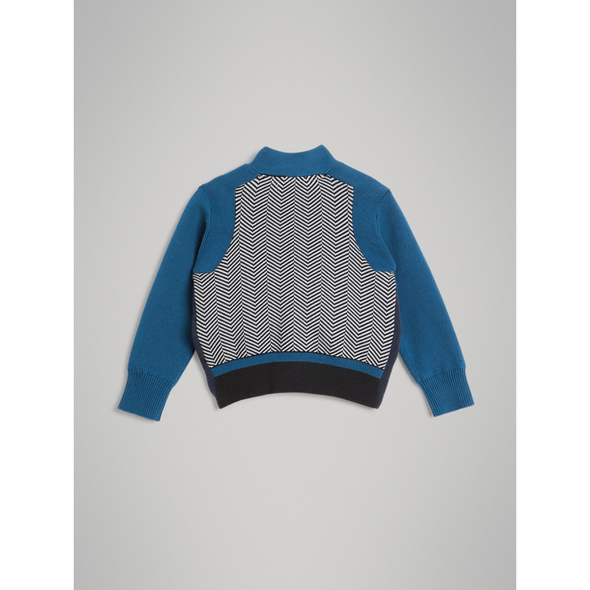 Colour Block Cotton Cardigan in Navy - Boy | Burberry - gallery image 3