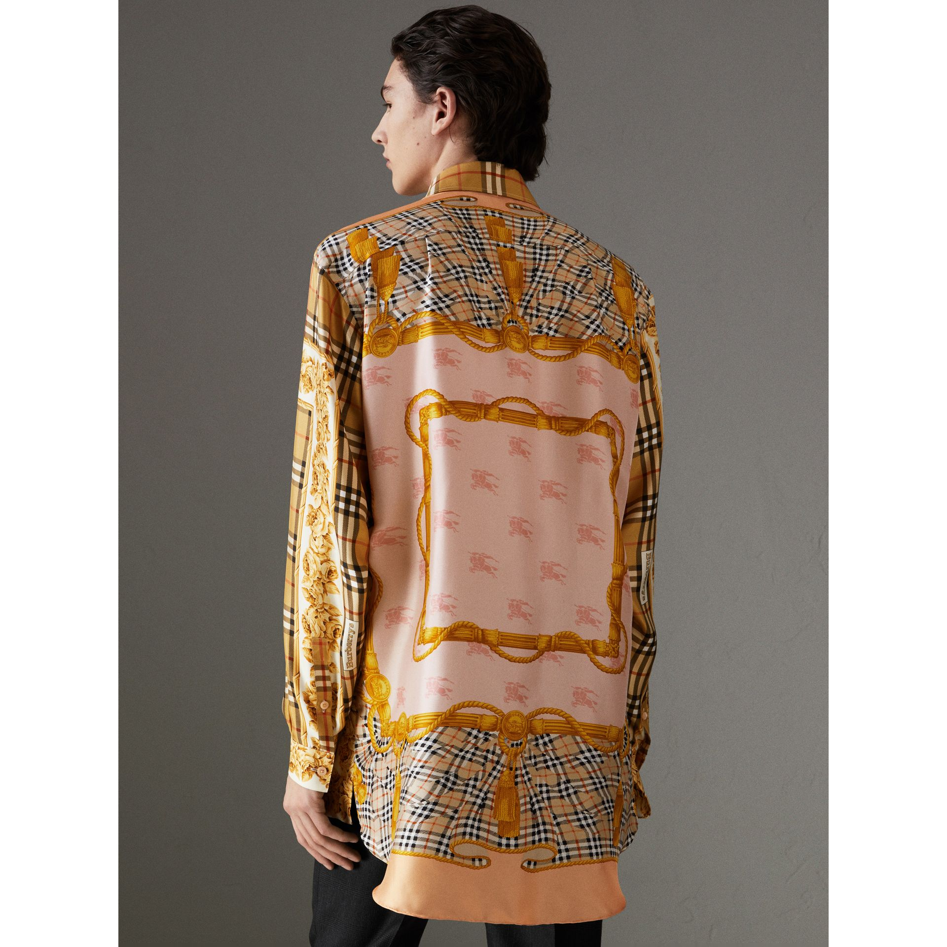 Archive Scarf Print Silk Shirt in Antique Yellow | Burberry - gallery image 2