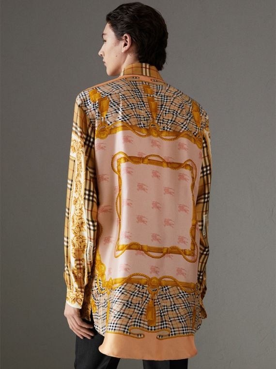 Archive Scarf Print Silk Shirt in Antique Yellow | Burberry - cell image 2