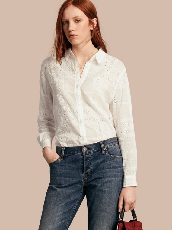 Check Cotton Broderie Anglaise Shirt